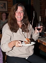 Shawn Hamilton Enjoying Wine and Desert at The Hideout Guest Ranch