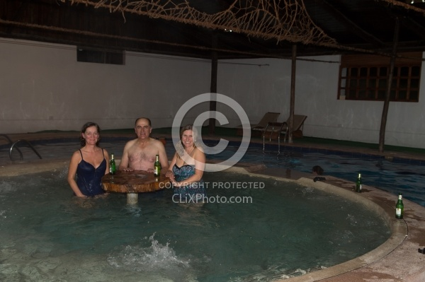 Ali, Gabriel and Heather enjoy the hot tub at HosteriaSan Jose i